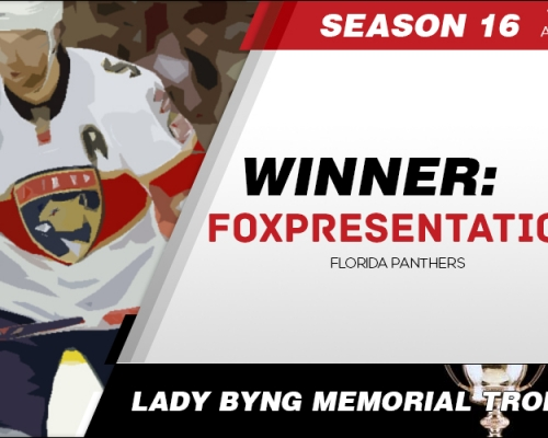 Season 16 Lady Byng Memorial Trophy Winner