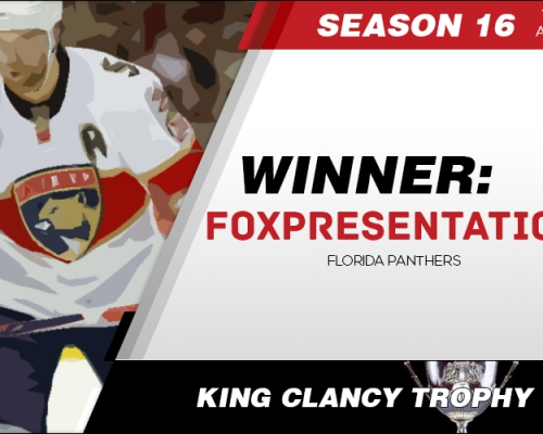 Season 16 King Clancy Memorial Trophy Winner